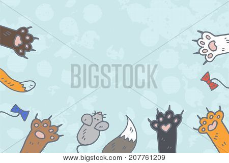 cat paws background vector, doodle sketch style
