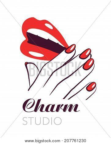 Beauty salon symbol, lips and nails vector fashion label