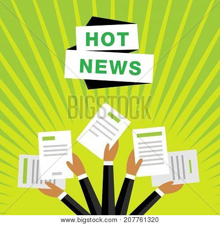 Hot news concept vector background on green