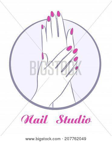beauty women hands with manicure, fashion salon symbol vector