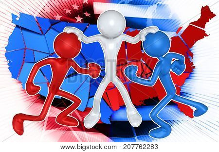 The Original 3D Character Illustration Keeping Apart Red And Blue Figures