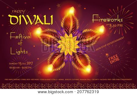 Happy Diwali lights festival poster with text and burning diya - oil lamps traditional symbol, fireworks, mandala decorative ornament, abstract festive background, light effect for Indian Diwali Holiday Vector