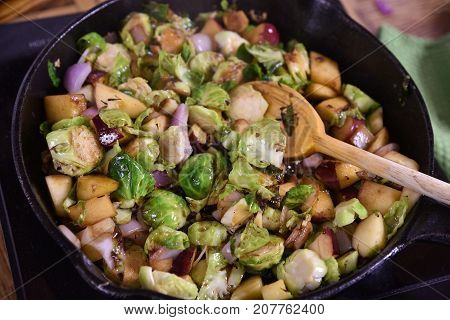 Brussels Sprouts, Apples And Onions