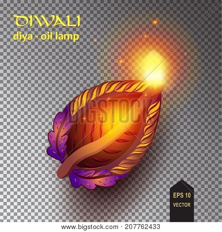 Happy Diwali - Diya lamps lit during Indian diwali festival of lights celebration. Vector illustration