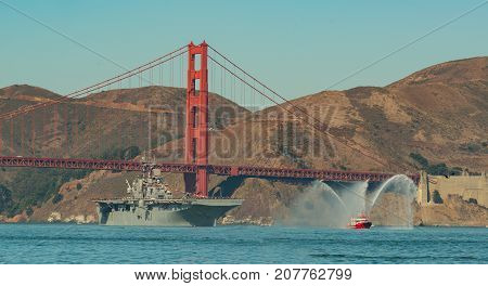 Lucas Oil Biplane flying in the San Francisco Fleet Week air show on Oct, 6 2017 over the bay