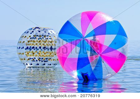 Sea, An Attraction, A Large Inflatable Ball On The Water