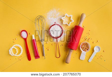 Ingredients and tools for baking. Baking and cooking concept