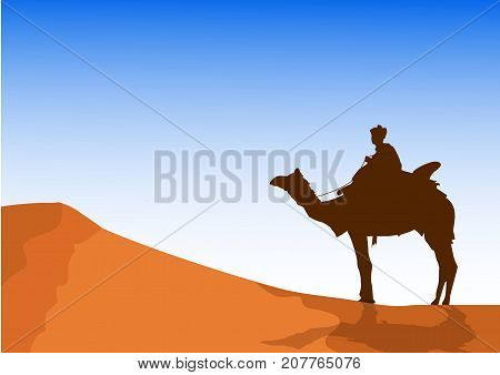 men silhouette. men on camels following the blue background.