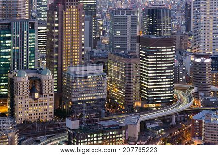 Office building city downtown light close up Umeda Japan night view