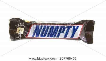 SWINDON UK - OCTOBER 6 2017: Snickers NUMPTY chocolate bar on a white background