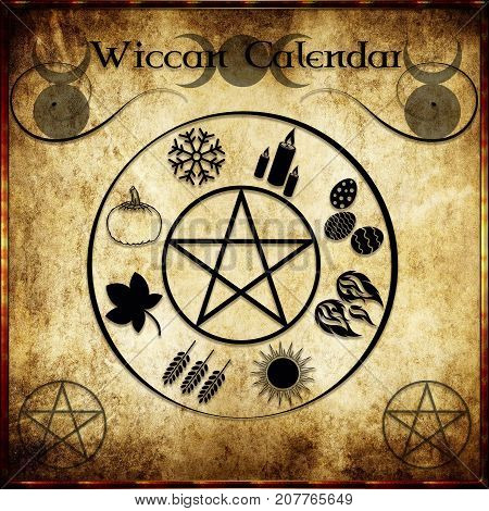 Wiccan calendar with the symbols of the witches' sabbats