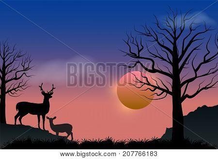 Deer and sunset autumn season nature landscape vector background