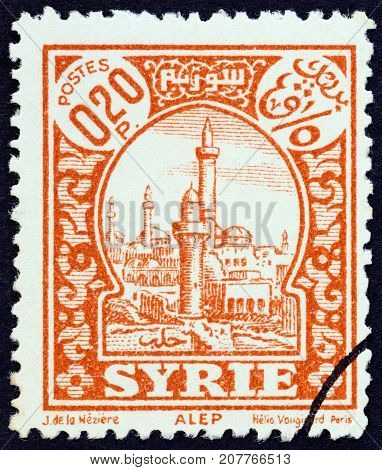 SYRIA - CIRCA 1930: A stamp printed in Syria shows Aleppo, circa 1930.