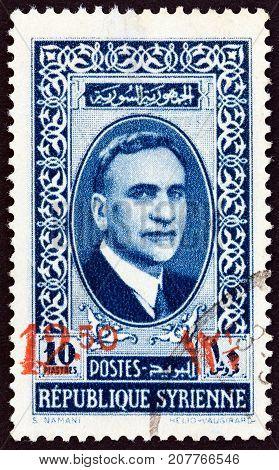 SYRIA - CIRCA 1938: A stamp printed in Syria shows President Atasi, circa 1938.
