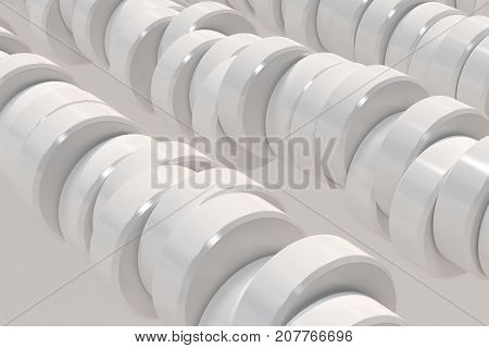 Pattern Of White Cylinder Tablets On White Background