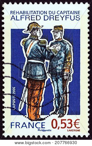 FRANCE - CIRCA 2006: A stamp printed in France shows reinstatement of Captain Alfred Dreyfus, circa 2006.