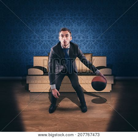 Business man dribbling in front of tv.