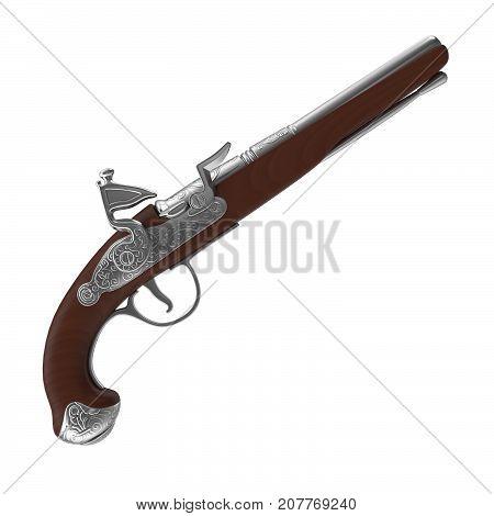 3d rendering of flintlock pistol, isolated on white background.