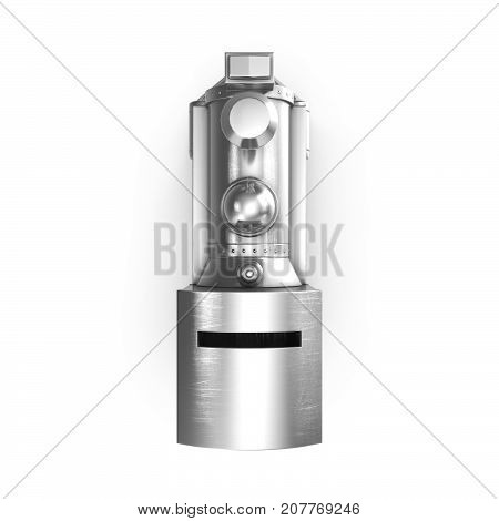 3d rendering of money box In the form of a steam locomotive, isolated on white background.