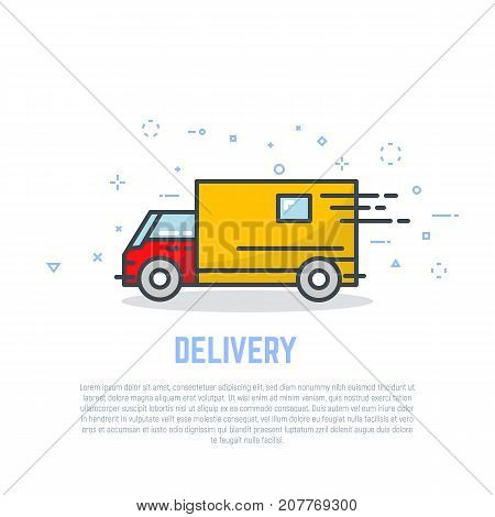 Delivery truck line logo. Linear delivery company advertising. Bright colors flat style line modern vector illustration. Template for banner or commercial.