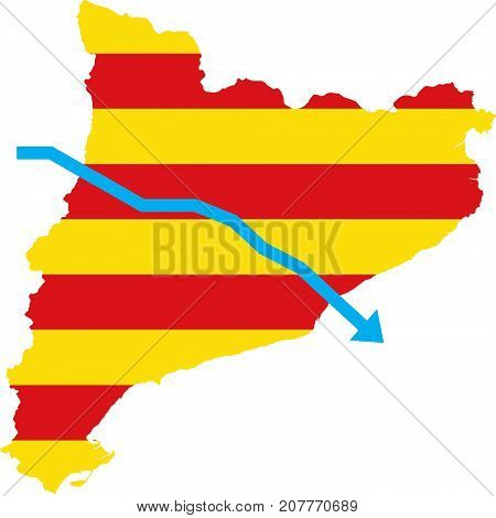 Blue arrow down on the flag of Barcelona on white. Isolated. Independence of the Catalonia. A crisis. Barcelona, Spain.