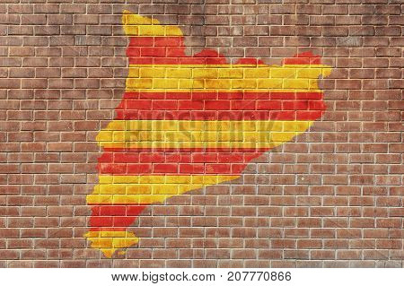 Flag of Barcelona on the break wall background. Independence of the catalonia. A crisis. Barcelona, Spain.