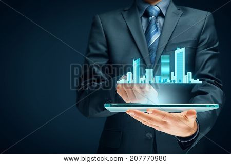 Smart (intelligent) city concept - communication technology (ICT) and Internet of things (IoT), technology integrated to manage city asset.