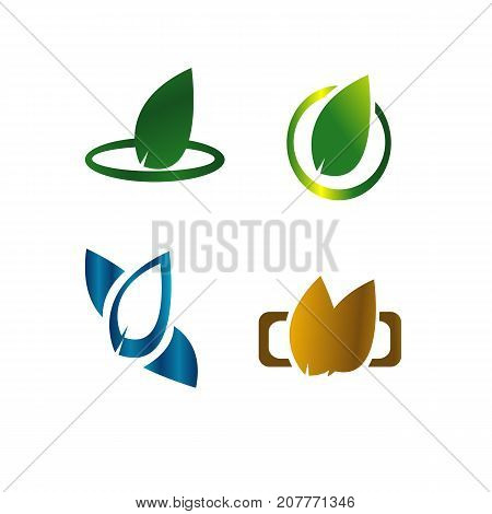 Leaves botanical green logo concept illustration vector
