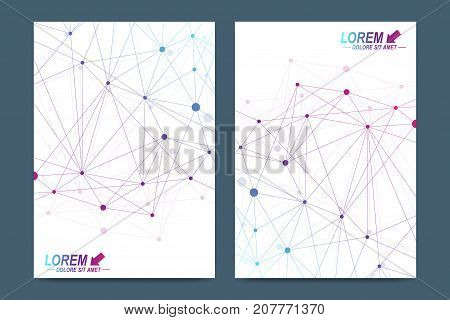 Vector template for brochure, Leaflet, flyer, advert, cover, catalog, magazine or annual report. Geometric background molecule and communication. Cybernetic dots. Lines plexus. Card surface