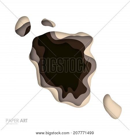 Realistic multicolor paper cut background. Abstract paper poster texture with wavy layers. Vector art illustration.