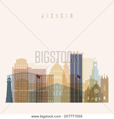 Jackson state Mississippi skyline detailed silhouette. Transparent style. Trendy vector illustration.