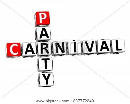 3D Party Carnival Crossword Over White Background.