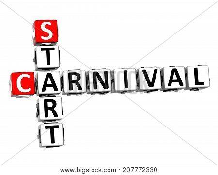 3D Start Carnival Crossword Over White Background.
