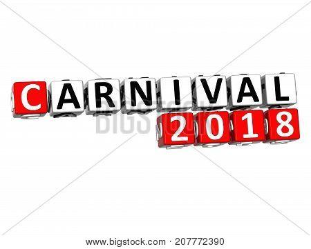 3D Carnival 2018 Crossword Over White Background.