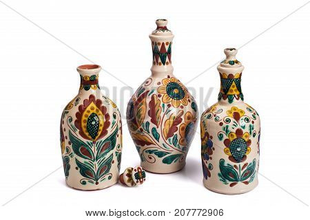 Still life with ceramic handmade bottles. Painted according to the samples of the late nineteenth century in the technique Kosovo ceramics - it really authentic Ukrainian technique of painting