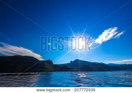 Bright sun above the Skadar Lake. Montenegro. Photo taken at Skadar Lake Podgorica region. poster