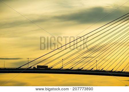 Bhumibol bridge suspension bridge at river of Bangkok Thailand at sunset twilight dusk
