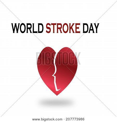 World Stroke Day. heart break with face illustration