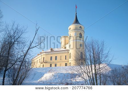 February frosty day at the Mariental castle. Surroundings of St. Petersburg, Pavlovsk