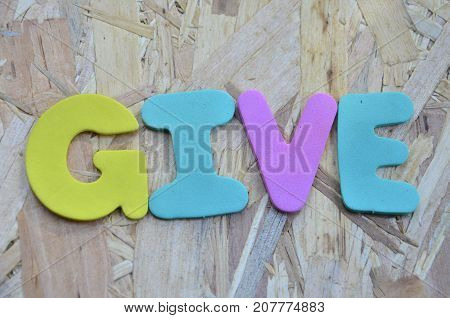 word give on a  abstract colored background