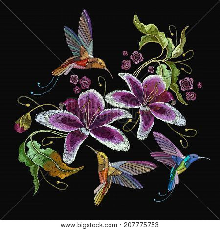 Humming bird and orchid exotic tropical flowers. Beautiful classical embroidery humming-bird orchids flowers. Template for clothes embroideries t-shirt design