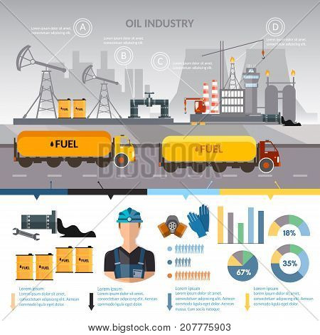 Oil industry infographics vector extraction and processing products transportation of oil oilman works