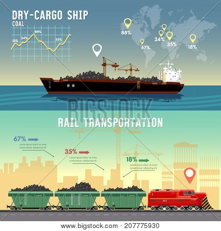 Logistics banner Cargo transportation. Delivery by railway lines. Tanker cargo ship transports coal sand. Logistics and transportation