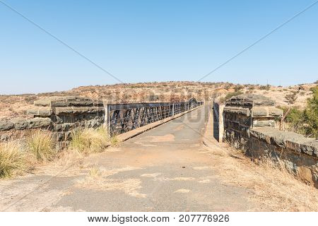 The historic Barkly bridge over the Vaal River at Barkly West a town in the Northern Cape Province of South Africa