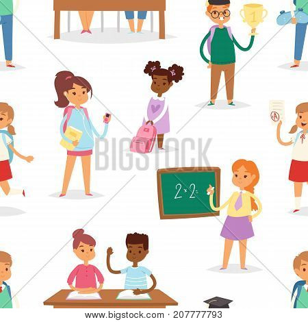 Back to school kids boys and girls children school-time vector illustration seamless pattern background.