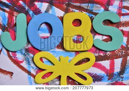 the word jobs on a  a abstract colored background