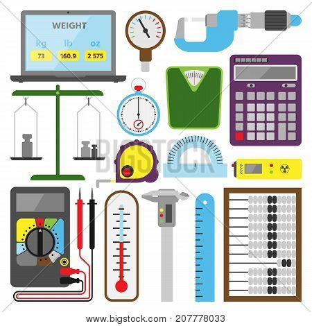 Measuring mechanism tools and electronic inspection devices illustration measure engineering testing construction equipment. Distance size testing meter.