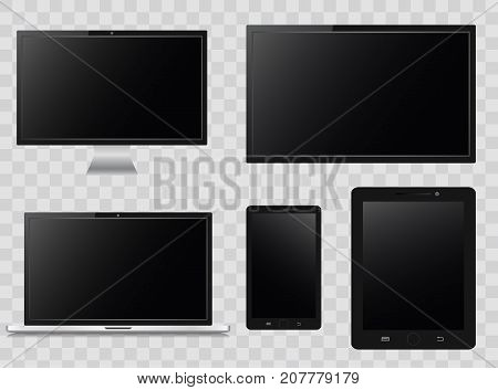 Modern monitor, laptop, tablet and mobile phone with on isolate transparent background .