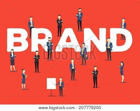Vector Creative Illustration Of Business People And Brand Word Lettering Typography On Red Backgroun