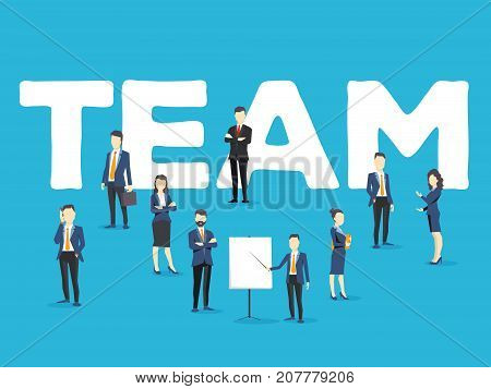 Vector Creative Illustration Of Business Team. People And Team Word Lettering Typography On Blue Bac